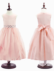 Ball Gown Tea-length Flower Girl Dress - Organza / Satin Sleeveless Jewel with Beading / Lace
