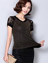 Damen Patchwork Sexy Lässig/Alltäglich T-shirt,Rundhalsausschnitt Sommer Kurzarm Gold / Silber Polyester Mittel