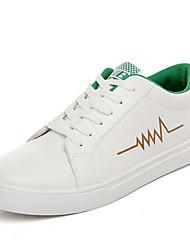 Femme-Décontracté-Noir / Vert / Blanc-Talon Plat-Confort-Sneakers-Polyuréthane