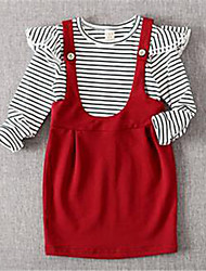 Girl's Casual/Daily Striped Dress,Cotton Spring / Fall Black / Red