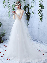 A-line Wedding Dress Court Train Sweetheart Lace / Tulle with Lace