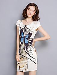 Women's Plus Size Vintage Bodycon Dress,Print Round Neck Mini Short Sleeve Beige Polyester Summer
