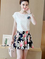 Women's Geometric White Skirts,Cute Above Knee