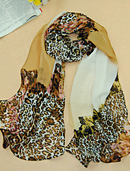 Women's Chiffon Leopard Print Scarf,Khaki/Red/Blue/Pink/Yellow