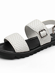 Men's Sandals Summer Open Toe / Sandals Leather Casual Flat Heel Others Black / White Walking