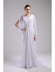 Formal Evening Dress Sheath / Column V-neck Court Train Chiffon with Beading