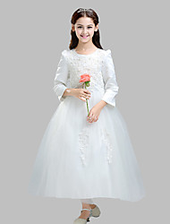 Ball Gown Ankle-length Flower Girl Dress - Cotton / Satin / Tulle Long Sleeve Jewel with Appliques / Pearl Detailing