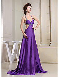 Formal Evening Dress Sheath / Column Spaghetti Straps Court Train Charmeuse with Beading