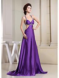 Formal Evening Dress Sheath / Column Spaghetti Straps Court Train Charmeuse with Beading