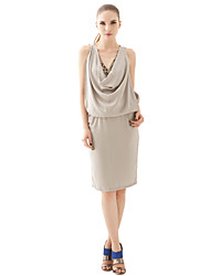 Women's Party/Cocktail Sexy / Vintage Dress,Solid Above Knee Sleeveless Gray Polyester All Seasons / Spring / Summer / Fall / Winter