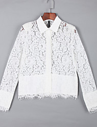 Women's Casual/Daily Simple Summer Shirt,Solid Shirt Collar Long Sleeve White Translucent