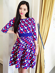 Boutique S Women's Going out Vintage Sweater Dress,Print Round Neck Above Knee ¾ Sleeve Purple Others Fall