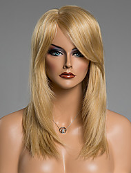 Capless Long Full Bang Straight Real Natura Human Hair Wig