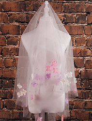 Wedding Veil One-tier Shoulder Veils Cut Edge Tulle Ivory
