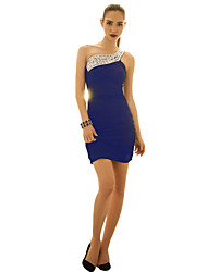Women's Party/Cocktail Plus Size / Sexy Bodycon Dress,Solid One Shoulder Above Knee Sleeveless Blue / Pink / Black Polyester All Seasons