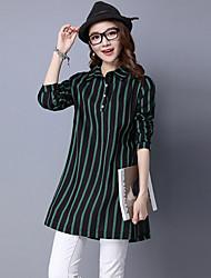 Women's Casual Simple Spring / Fall Shirt,Striped Shirt Collar Long Sleeve Blue / Green / Yellow Cotton / Linen Medium
