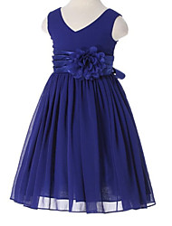 A-line Tea-length Flower Girl Dress - Chiffon V-neck with Flower(s) Sash / Ribbon