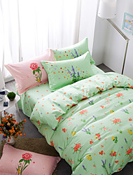 Green brief style 4piece bedding sets print duvet cover Sets 100% Cotton Bedding Set Queen Size