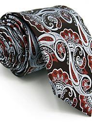 Men's Necktie Tie For Men 100% Silk Wine Gray Paisley Extra Long Wedding