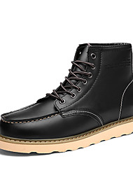 Men's Plus Velvet Boots Fall / Winter Work & Safety Cowhide Outdoor / Athletic / Casual Flat Heel Lace-up