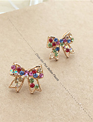 Women's Gold Rainbow Colorful Bowknot Stud Earrings