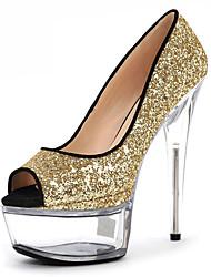 Feminino-Saltos-Plataforma Sapatos clube Light Up Shoes-Salto Agulha Plataforma-Prateado Dourado-Materiais Customizados-Casamento Casual
