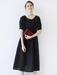 idilio isla de las mujeres que salen / casual / diaria simple una línea dresssolid cuello redondo manga corta midi ropa de verano