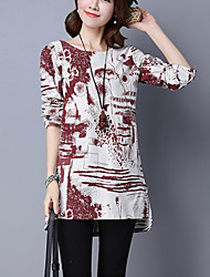 Women's Casual Simple Spring / Fall Long section of Shirt,Print Asymmetric Long Sleeve Blue / Red / Green Cotton / Linen