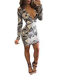 Feminino Bandagem Vestido,Happy-Hour / Festa/Coquetel / Bandagem Sensual / Simples Estampado Decote V Acima do Joelho / AssimétricoManga