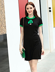 Women's Going out Sheath DressSolid Crew Neck Above Knee Short Sleeve