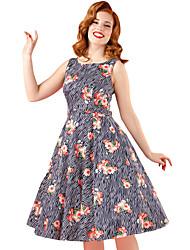 Women's Flared Sleeveless High Waist Floral Vintage Dress with Belt