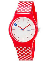 Kids' Wrist watch Colorful Quartz Plastic Band Dot Candy color Cool Casual Red