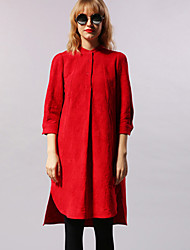 NEW BEFORE  Women's Casual/Daily Simple Loose DressSolid Stand Knee-length / Asymmetrical Sleeve