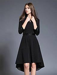 BOMOVO Women's V Neck 3/4 Length Sleeve Above Knee Dress-B16QBJ4