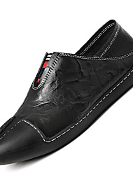 Men's Loafers & Slip-Ons Comfort Cowhide / Leather Casual Flat Heel Jewelry Heel Black / Blue / White
