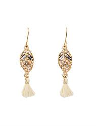 Fashion Women Stone Set Fabric Tassel Drop Earrings