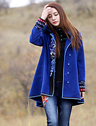 Damen Stickerei Boho Ausgehen Mantel,Winter Peter Pan-Kragen Langarm Blau Dick Wolle / Polyester