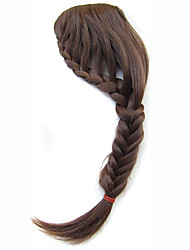 Front Neat Clips on Bangs Hair Extensions Blonde Braided Plaits Inclined Bang Fringe Heat Resistant Synthetic Hairpiece