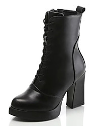 Women's Boots Fall / Winter Fashion Boots / Combat Boots Leather Outdoor / Casual Chunky Heel Zipper / Lace-up