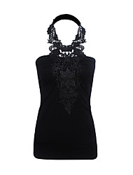 Women's Casual/Daily Sexy / Simple Spring / Fall T-shirtPatchwork Lace Hollow Out Backless  Halter Sleeveless