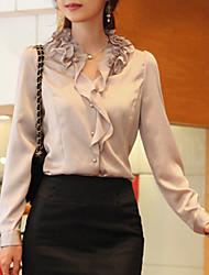 Women's Ruffle Simple/Street chic All Seasons Shirt,Solid Long Sleeve Red/Beige Medium