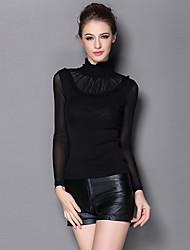 Multiflora® Mujer Escote Chino Manga Larga Camiseta Negro-16121630020