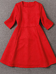 Boutique S Women's Formal Sophisticated  DressSolid Crew Neck Above Knee  Length Sleeve Red