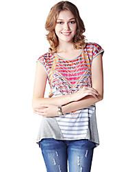 Damen Druck Einfach Lässig/Alltäglich T-shirt,Rundhalsausschnitt Sommer Kurzarm Rot Kunstseide / Polyester Dünn