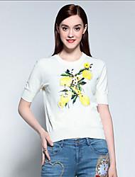 Damen Blumen Einfach Lässig/Alltäglich T-shirt,Rundhalsausschnitt Sommer Kurzarm Weiß Baumwolle / Nylon / Elasthan Mittel