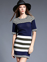 Women's Going out / Casual/Daily / Holiday Simple / Street chic Bodycon / Sweater Dress,Striped / Color Block Round Neck