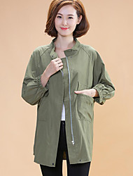 Women's Casual/Daily Simple Fall JacketsSolid Stand Long Sleeve Green Cotton / Spandex Medium