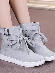 Черный Серый-Для женщин-Повседневный-Полотно-На плоской подошве-Ботинки-Ботинки