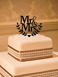 Decorações de Bolo Não-personalizado Monograma Acrilíco Casamento Flôr Preto Tema Clássico 1 Caixa Oferta