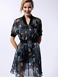 Newbefore Women's Going out Vintage Loose DressFloral Stand Above Knee Short Sleeve Black